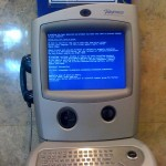 A BSoD at a payphone in the Madrid airport.