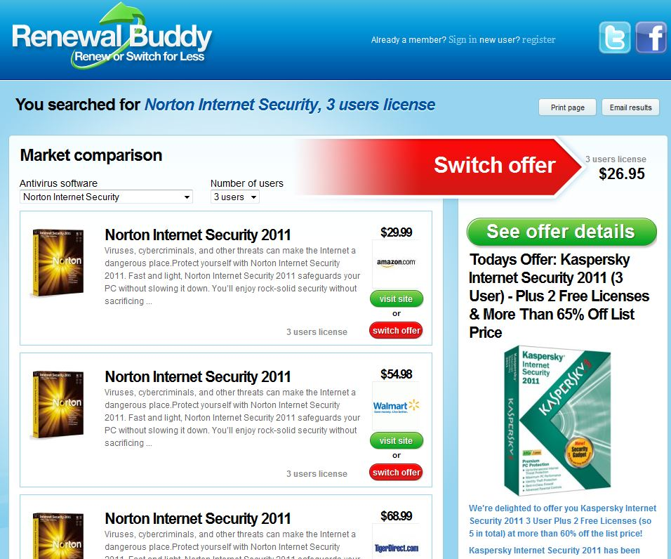 Renewal Buddy: Comparison Shopping for Anti-Virus Software