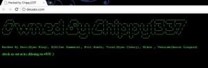 The defacement message left on deusex.com.