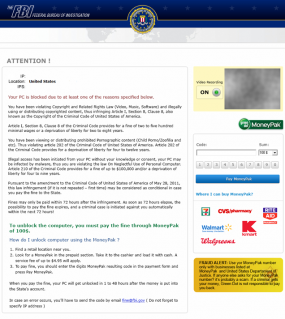 Reveton ransomware scam impersonating FBI