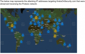 Geographic distribution of servers observed in Mar. 14, 2013 attack on KrebsOnSecurity. Source: Prolexic
