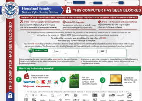 Ransonware scam spoofing the DHS to obtain Moneypak/unlock codes.
