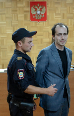 ChronoPay founder and owner Pavel Vrublevsky, in handcuffs, at his sentencing.