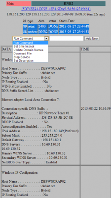 The botnet control panel entry for a hacked Dun & Bradstreet server