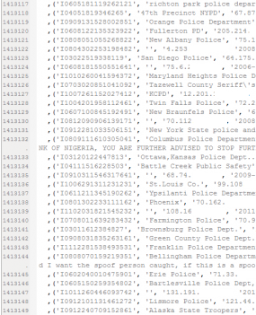 A snippet of redacted complaint data stolen from IC3.