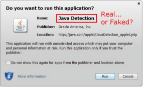 Java's security dialog box.