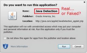 Java's security dialog box.