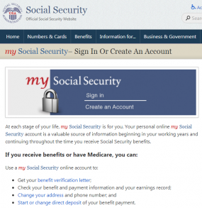 "The SSA's ""my Social Security"" portal."