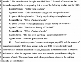NOD's feedback from Silk Road buyers, according to the government.