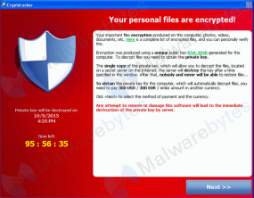 A Cryptolocker prompt and countdown clock. Photo: Malwarebytes.org