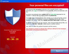 A Cryptolocker prompt and countdown clock. Photo: Malwarebytes.org