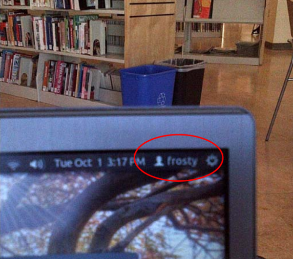 "This photo, released by prosecutors, shows Ulbricht's laptop as seized in the public library, logged in as ""Frosty."" According to the government, this was the the name of the only computer authorized to log in to the Silk Road server directly."