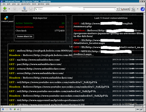 Sites browsed by hacked PCs (left) and SQL injection flaws found by the botnet (masked, right)