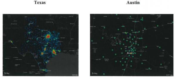 Maps of ZeroAccess infected PCs in Texas. Source: botnetlegalnotice.com