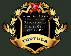 "A graphic advertisement for stolen cards sold under the ""Tortuga"" base."