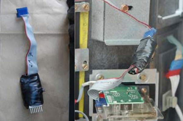 Gas pump skimmers recovered by police in California.