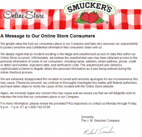 Smuckers's letter to visitors.