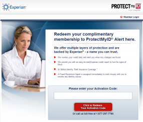Experian 'protection' offered for Target victims.