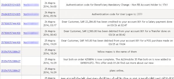 Text messages intercepted by the Sandroid botnet malware.