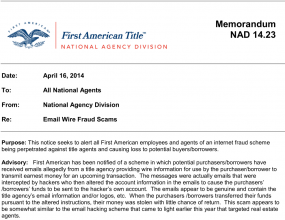 An alert sent by First National Title to its agents.