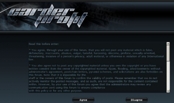 The CarderProfit homepage, which featured an end-user license agreement written by the FBI.