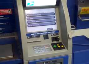 USPS Automated Postal Center (APC) self-service stamp kiosk.