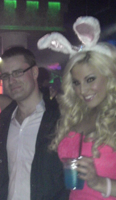 "Cameron ""cam0"" LaCroix, with Playboy model Ashley Alexxis, in a Rhode Island nightclub."
