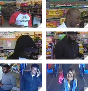 Surveillance camera footage from Dollar Stores where police say these individuals used stolen credit cards. Source: Monroe, Ct. Police.