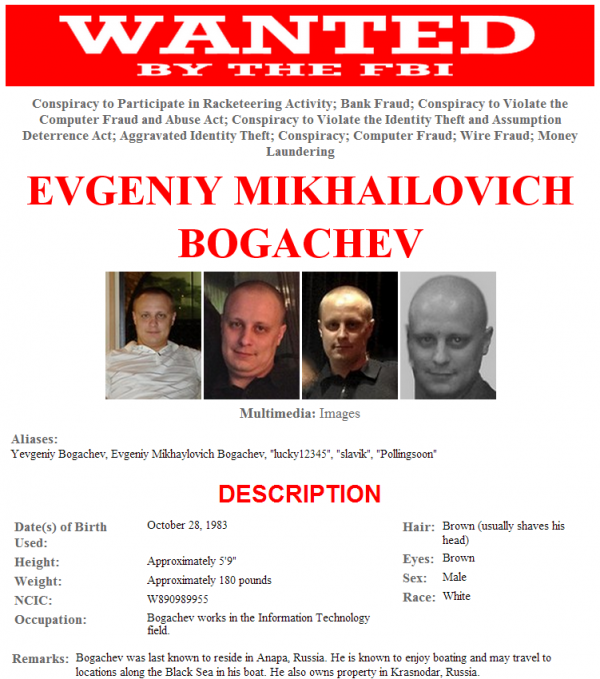 "The alleged ZeuS Trojan author, Yevgeniy Bogachev, Evgeniy Mikhaylovich Bogachev, a.k.a. ""lucky12345"", ""slavik"", ""Pollingsoon"". Source: FBI.gov ""most wanted, cyber."