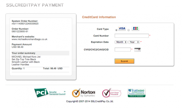 sslcreditpay.com uses a variety of security seals to make you feel more at ease submitting your credit card for goods you'll never get.