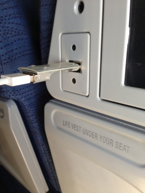 The USB Condom, in action at 35k feet.
