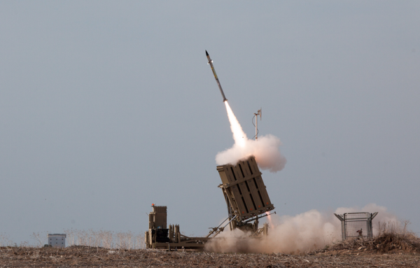 The Iron Dome anti-missile system in operation, 2011.