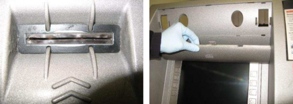 The card skimmer (left) and the hidden camera, disguised as a panel above the PIN pad. Images: EAST.