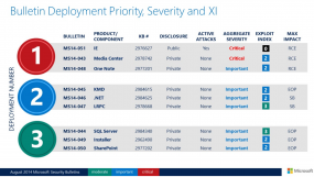 Microsoft's recommended patch deployment priority for enterprises, Aug. 2014.