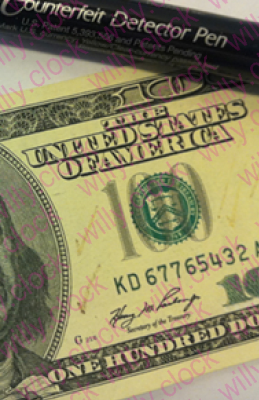 Fake money is supposed to leave a black mark with the pen; brown means the bill passes.