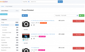 "The ""Fraud Related"" section of the Evolution Market before it vanished."