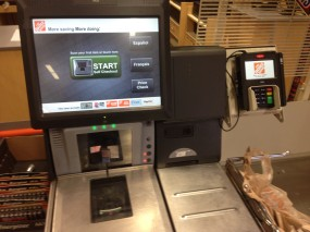 A self-checkout lane at a Home Depot in N. Virginia.