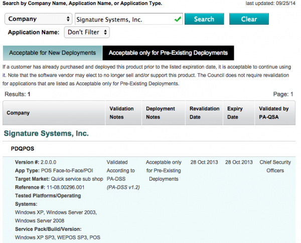This snapshot from the PCI Council shows that PDQ POS was not approved for new installations after Oct. 28, 2013.