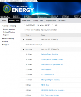 Department of Energy's WebEx meetings.