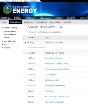 Department of Energy's WebEx meetings.
