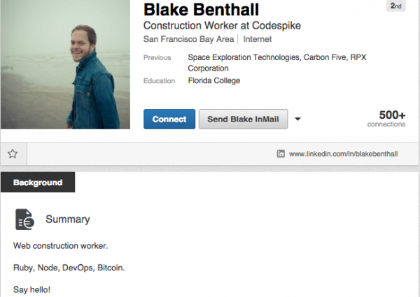 Blake Benthall's public profile page at LinkedIn.com