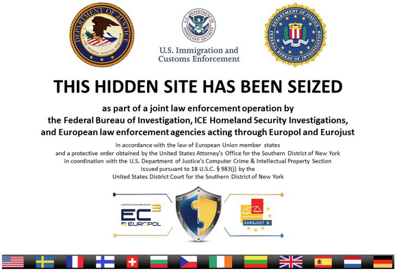 The home page of the Silk Road 2.0 market has been replaced with this message indicating the community's Web servers were seized by authorities.