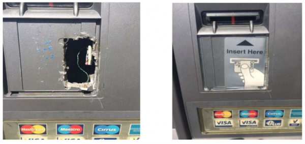"A hole left by crooks who added ""wiretapping"" or ""eavesdropping"" theft devices to a compromised ATM."