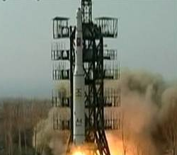 A missile launched by North Korea on July 4, 2009.