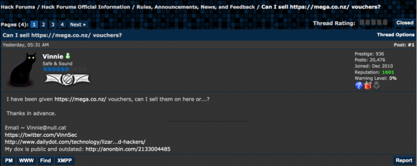 "Hackforums user ""Vinnie"" asks about selling MegaUpload vouchers."