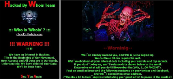 The defacement message left by the Whois Team in the 2013 Dark Seoul attacks (left) and the message left for Sony (right).