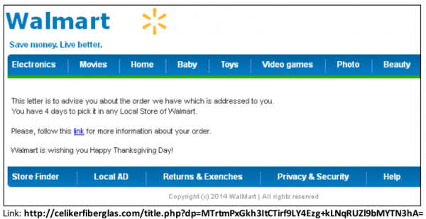 This Asprox malware email poses as a notice about a wayward package from a WalMart  order.