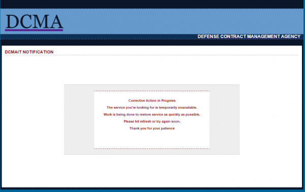 The public Web site for the DCMA has been offline for nearly two weeks.