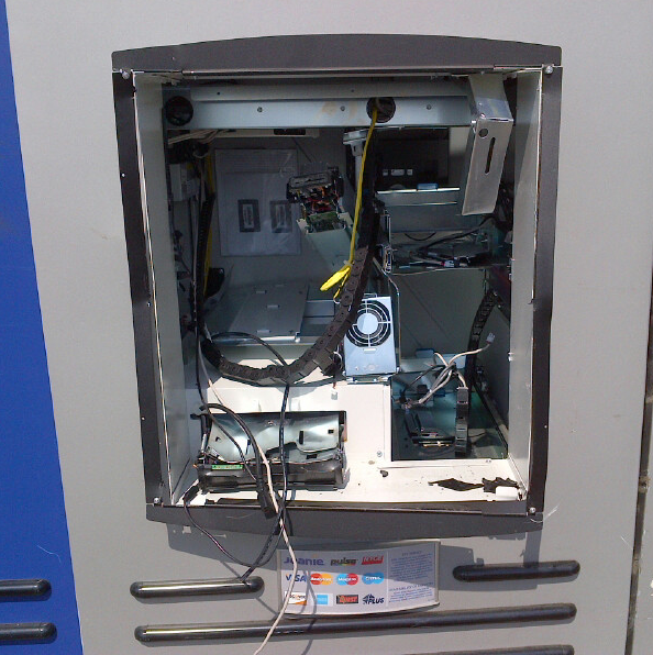 This thief-ravaged ATM is totaled.