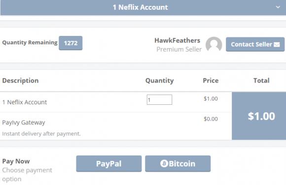 A PayIvy seller advertising Netflix accounts for a dollar apiece.